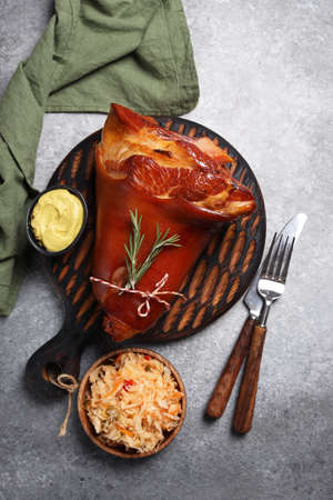 baked pork knuckle with mustard and cabbage