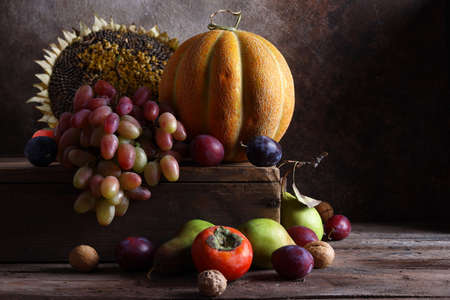 still life ripe organic fruit autumn harvest