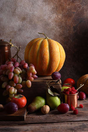 still life ripe organic fruit autumn harvest