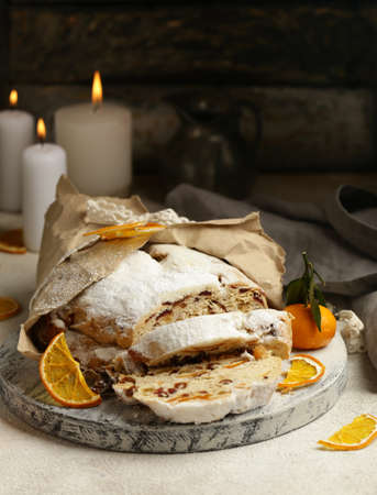 Christmas stollen for treats and decorations Standard-Bild