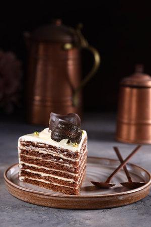 chocolate birthday cake for dessert Stock Photo