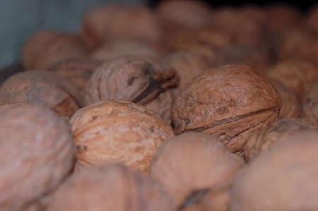 lots of walnuts on the shelf close-up Banco de Imagens