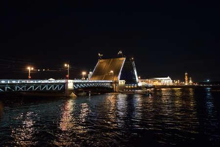 Divorce the night bridge in Saint Petersburg Banco de Imagens
