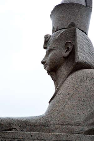 Sphinx from Egypt on the granite embankment of the Neva River in St. Petersburg