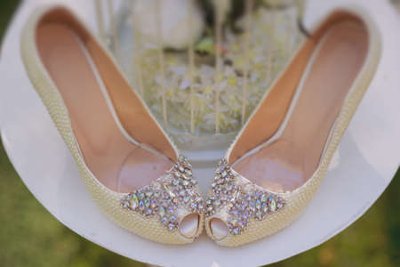 Wedding shoes with rhinestones, view from above Reklamní fotografie