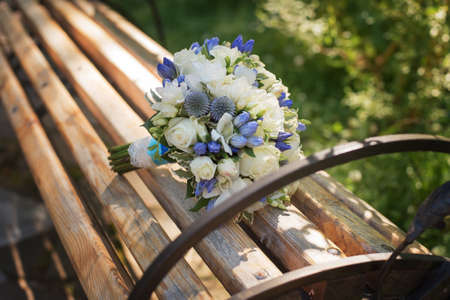 Wedding bouquet in blue range