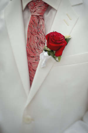 Groom in a white jacket with a bud, a red rose.