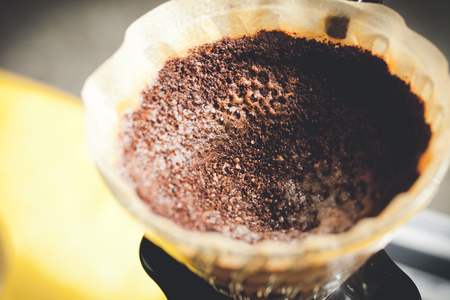 coffee grinds and coffee filter Stock Photo