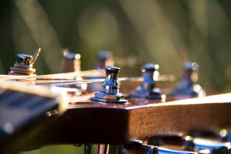 Close-up of headstock of a blue steel string guitar with grass in the background in sundown light in the evening