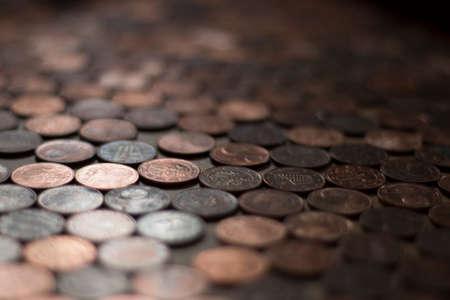 2 cents copper bronze color bokeh unfocused macro close up
