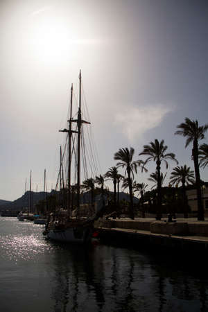 Silhouettes of sailing boats with masts in a spanish harbor with palm trees and blue skies in the background in cartagena at sundown in spain Stock Photo