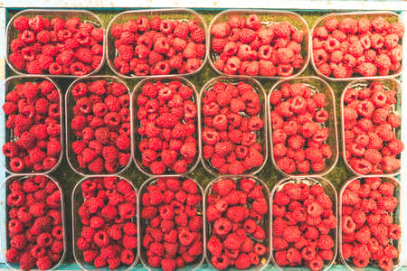 Array of bowls or shells of juicy raspberries on a local street market in stockholm Stock Photo