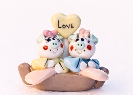The dool ceramic animals figure loves Stock Photo
