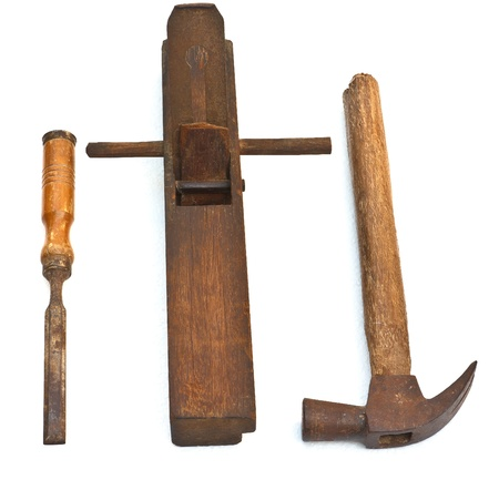 The old tools for carpenter in the past photo