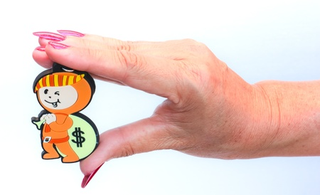 woman holding money: The hand of woman holding money icon