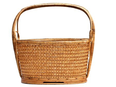 empty basket: an empty basket on white background Stock Photo