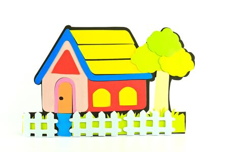 The colourful cartoon home on white background  photo