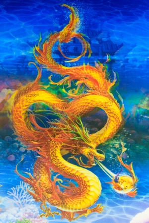 tribal dragon: Dragon is mythical creature of the Chinese people  Stock Photo