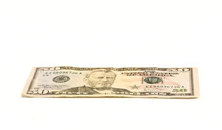smacker: Fifty U.S.dollar on white background.