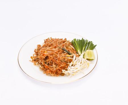 stir fried: Stir fried noodles on plate.(Pad Thai) Stock Photo