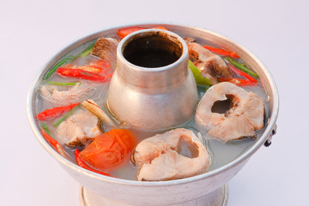 common snakehead: Hot and spicy snake head fish soup. Stock Photo