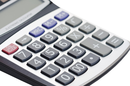 background material: Closeup macro keypad of calculator isolated on white background.