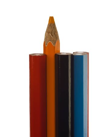coloured pencils: part of the coloured pencils isolated with clipping path.