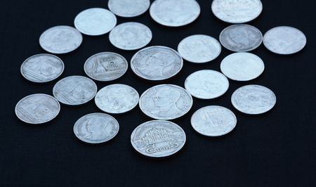 Thai baht coins,which have many prices on black background.
