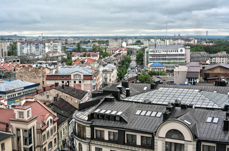 obelisk stone: IWANO- FRANKIWSK, UKRAINE - MAY 1, 2017 ; View of the city from the top of the town hall tower. Local sightseeing museum. Panorama over the whole city. Central viewpoint.
