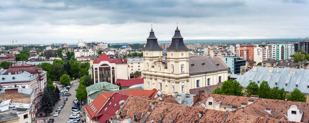 IWANO- FRANKIWSK, UKRAINE - MAY 1, 2017 ; View of the city from the top of the town hall tower. Local sightseeing museum. Panorama over the whole city. Central viewpoint.