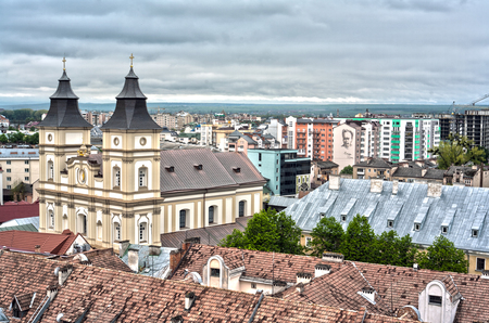 soviet flag: IWANO- FRANKIWSK, UKRAINE - MAY 1, 2017 ; View of the city from the top of the town hall tower. Local sightseeing museum. Panorama over the whole city. Central viewpoint.