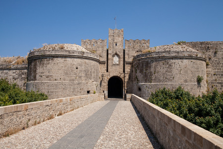 moat wall: Ruins of the castle and city walls of Rhodes. Defensive Fortress of the Joannites.Historic castle on the shores of the Aegean and Mediterranean.