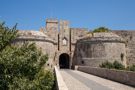 Ruins of the castle and city walls of Rhodes. Defensive Fortress of the Joannites.Historic castle on the shores of the Aegean and Mediterranean.