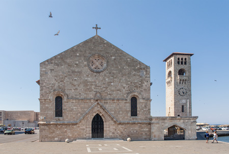 Evangelismos Church of the Annunciation in Rhodes next to Mandraki Harbor. The church is a magnificent example of Gothic architecture.