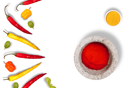 relish: Sharp pepper on a white background. Oriental cuisine. in the kitchen.
