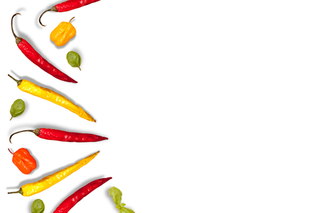 Sharp pepper on a white background. Oriental cuisine. in the kitchen.