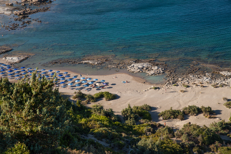 Famous nudist beach in Faliraki. Top view of the beach in Rhodes. Popular beach on the island.