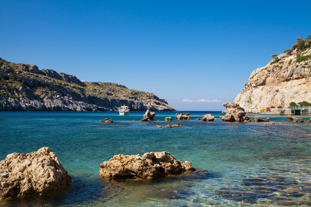 Anthony Quinn Bay, Rhodes in Faliraki. Beautiful beach on the island of Rhodes. One of the most beautiful bays in the city of Faliraki, Greece.