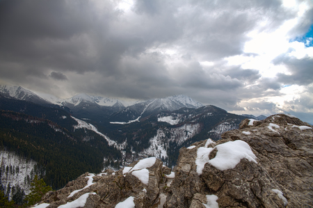 View from the top of Nosal Mountain in Tatra Mountains Stock Photo