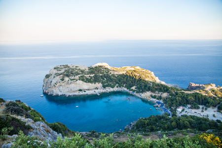 View from top on Anthony Quinn Bay and beach, Rhodes in Faliraki, Greece. Beautiful beach and bay on the island of Rhodes. Stock Photo