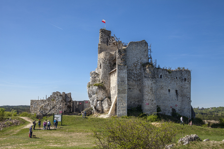 Ruins of the castle in Mirow next to castel in Bobolice. Castle in the village of Mirow in Poland, Jura Krakowsko-Czestochowska. Castle in eagle nests style. Built during the reign of Kazimierz Wielki. Editorial