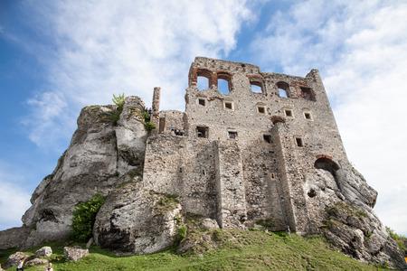 Ogrodzieniec, Podzamcze  Poland - May 5, 2018: Old castle wall in the village Podzamcze. Ruins of the castle on the upland, Jura Krakowsko-Czestochowska. The Trail of the Eagles Nests.