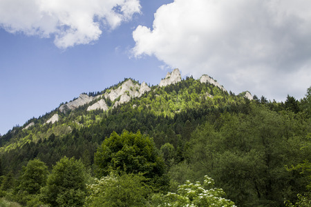Mountains Three Crowns (Trzy Korony) is Polish Pieniny. National park in Pieniny. Mountains and landscapes above the Dunajec. Stock Photo