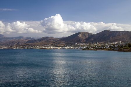 View of the coast of the city of Hersonissos in Greece in Crete.