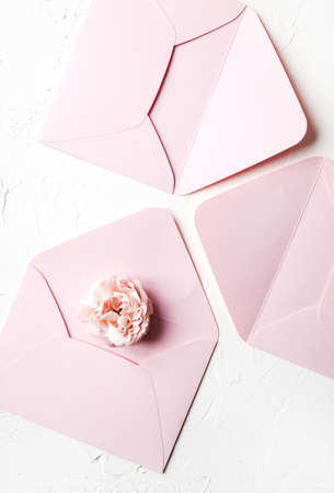 rose pink envelope nude beige flower flowers wedding stationery