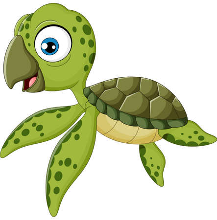 baby turtle: Cartoon baby turtle swimming Illustration