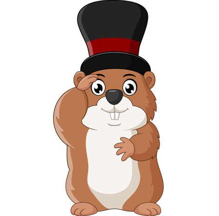 hog: Cartoon happy ground hog Illustration