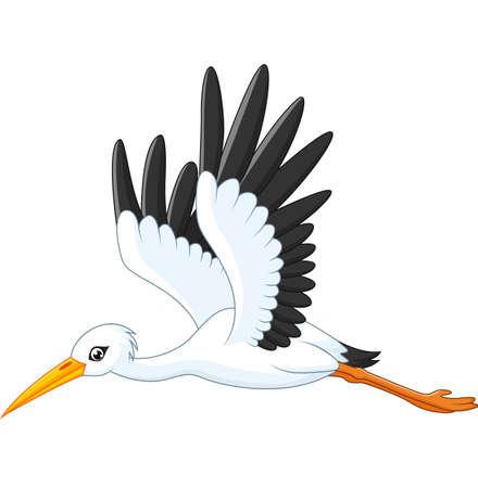 Cartoon stork flying