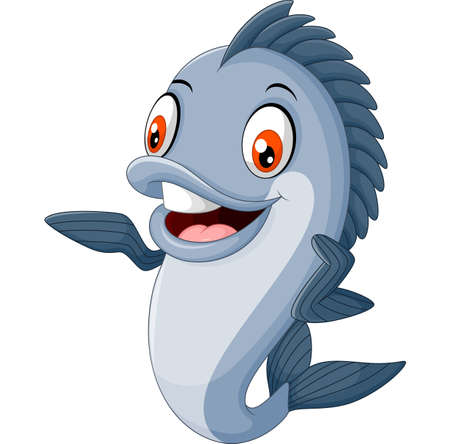 tropical fish: Cartoon fish waving