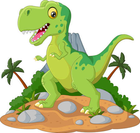 cute cartoon: Cartoon Cute tyrannosaurus cartoon Illustration